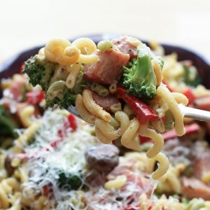 Ham and Vegetable Pasta Skillet with a Light Cream Sauce