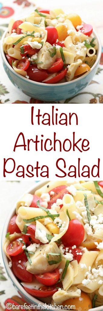 Italian Artichoke Pasta Salad - get the recipe at barefeetinthekitchen.com