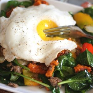 Sweet Potato, Bell Pepper, Onion and Sausage Hash