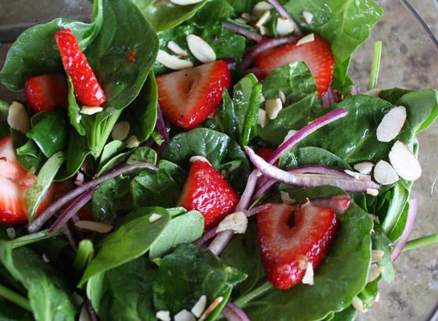Strawberry Spinach Salad recipe by Barefeet In The Kitchen
