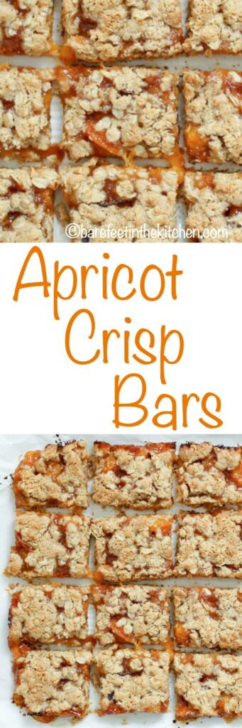 Apricot Crisp Bars are irresistible! get the recipe at barefeetinthekitchen.com