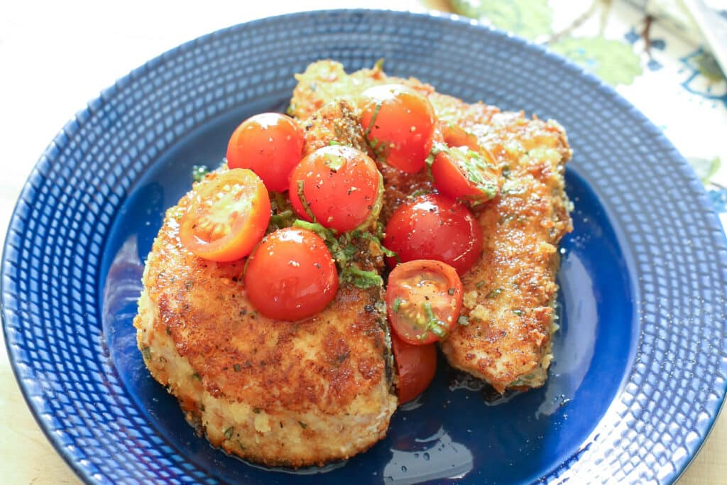 Basil Crusted Swordfish with Sweet and Spicy Marinated Tomatoes recipe by Barefeet In The Kitchen