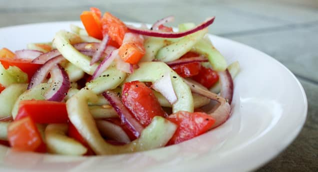 Cucumber Salad with Spicy Tomato Vinaigrette recipe by Barefeet In The Kitchen