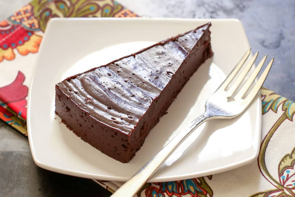 """Flourless """"Hot"""" Chocolate Cake recipe by Barefeet In The Kitchen"""