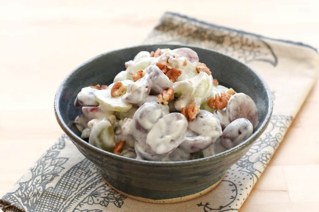 Grape Salad with Vanilla Bean Sweet Cream recipe by Barefeet In The Kitchen