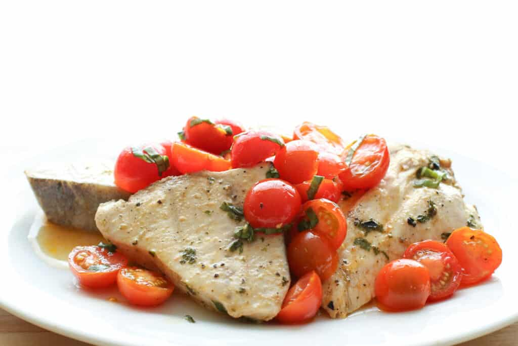 Spicy Cilantro Grilled Swordfish with Sweet and Spicy Marinated Tomatoes recipe by Barefeet In The Kitchen
