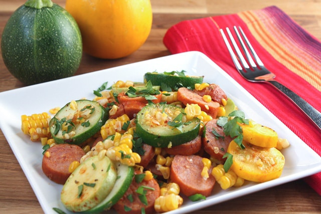 Spicy Sausage and Summer Squash Skillet recipe by Barefeet In The Kitchen