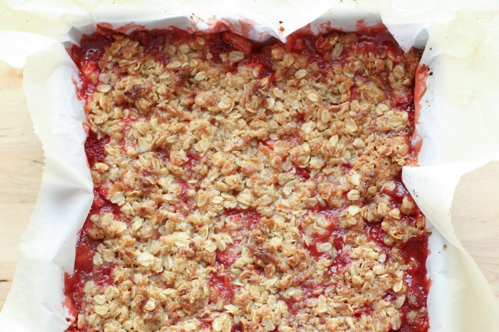 Strawberry Coconut Crisp Bars Recipe (traditional and gluten free recipes included) recipe by Barefeet In The Kitchen