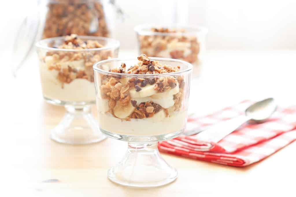 Chocolate PB Granola Yogurt Parfaits recipe by Barefeet In The Kitchen