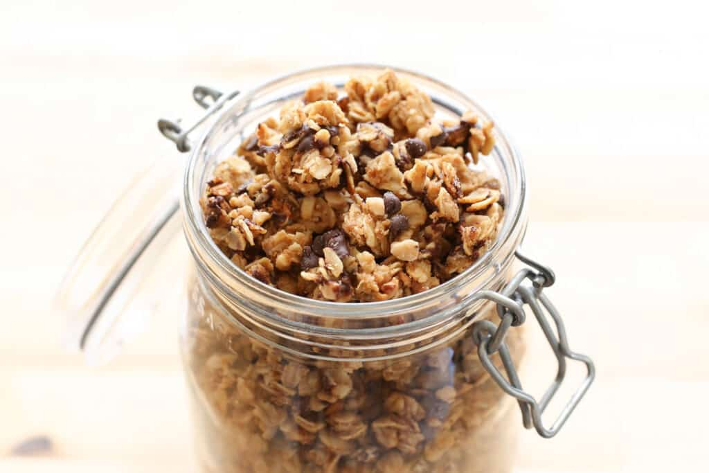 PB Chocolate Chip Granola {crock-pot recipe} by Barefeet In The Kitchen