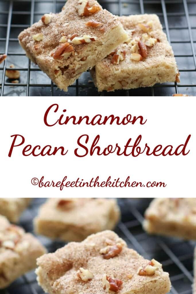 Cinnamon Pecan Shortbread Bars - traditional and gluten free recipes at barefeetinthekitchen.com