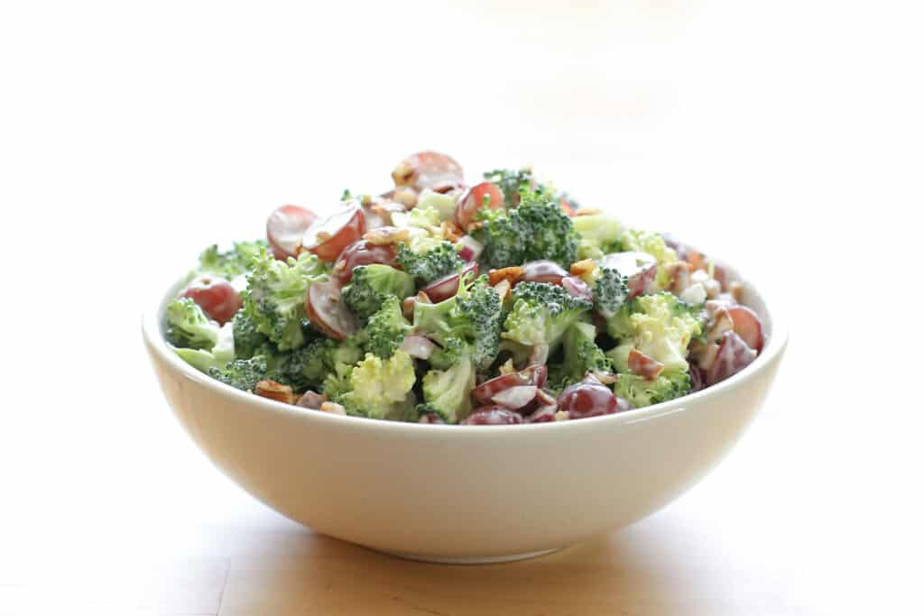 Balsamic Broccoli Salad with Grapes and Pecans recipe by Barefeet In The Kitchen