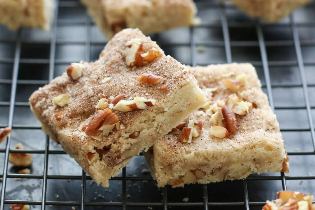 Cinnamon Pecan Shortbread Bars (gluten free and traditional recipes included) by Barefeet In The Kitchen