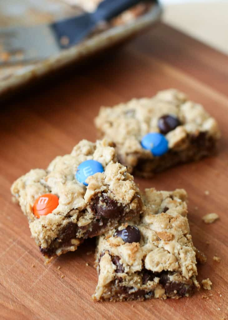 Monster Cookie Bars (naturally gluten free!) recipe by Barefeet In The Kitchen