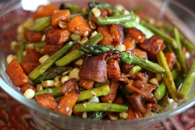Asparagus, Bacon, Corn and Sweet Potato Skillet recipe by Barefeet In The Kitchen