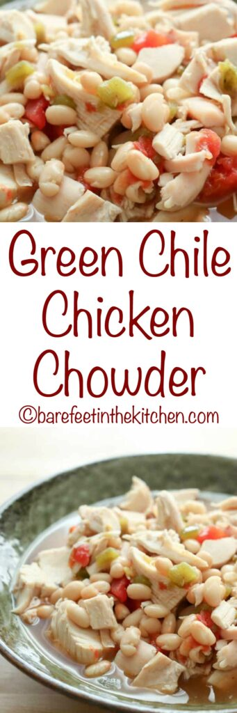 Green Chile Chicken Chowder is a 15 minute dinner that no one can resist! get the recipe at barefeetinthekitchen.com