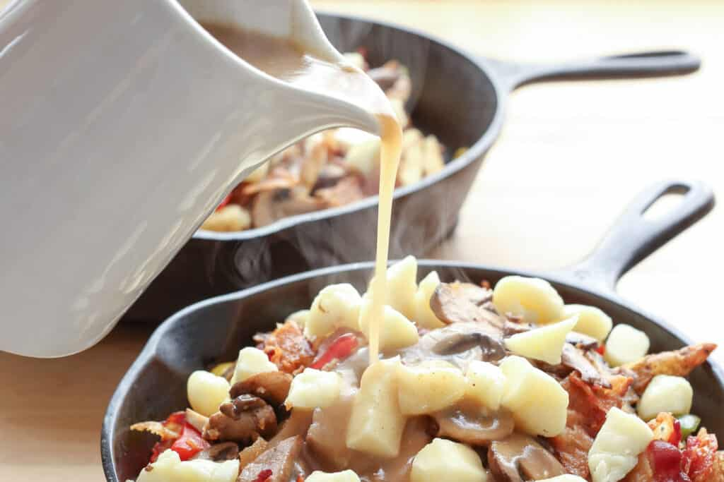 The Perfect Brown Gravy Sauce recipe for Poutine, Potatoes, and Meats by Barefeet In The Kitchen