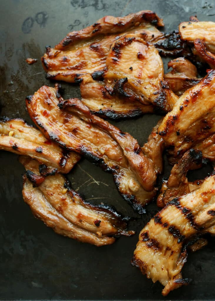 Sweet and Spicy Marinated and Grilled Pork Belly Strips recipe by Barefeet In The Kitchen