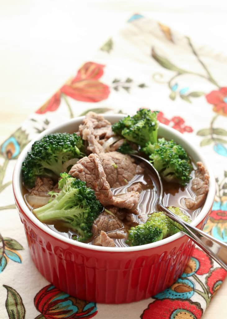 Chinese Beef Broccoli Soup recipe by Barefeet In The Kitchen