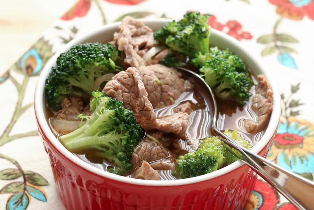 Chinese Beef and Broccoli Soup recipe by Barefeet In The Kitchen