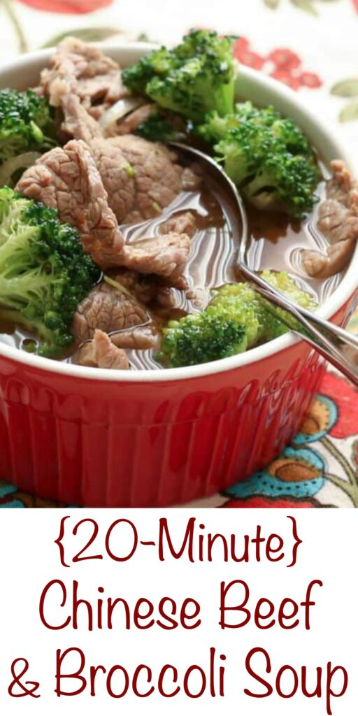 20 Minute Beef & Broccoli Soup - get the recipe at barefeetinthekitchen.com