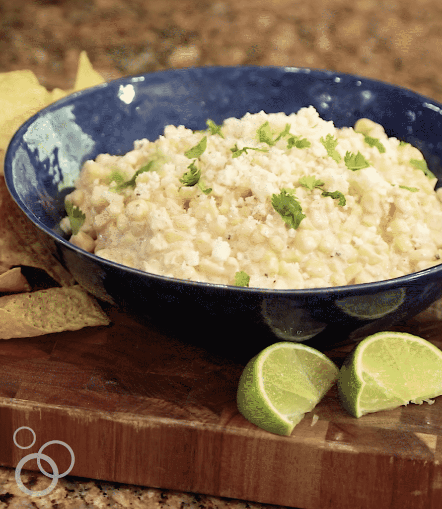 Elote Dip is an appetizer that disappears as fast as you can make it! get the recipe at barefeetinthekitchen.com