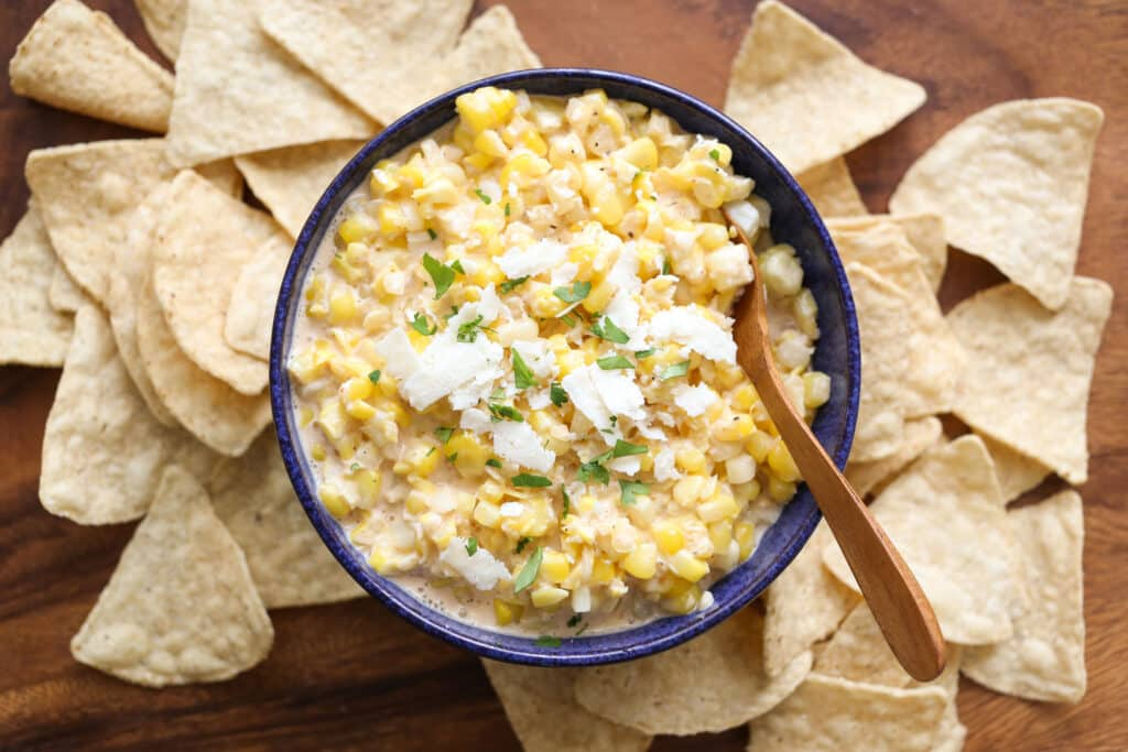 Elote {Hot Mexican Corn Dip} recipe from Elote Cafe by Barefeet In The Kitchen