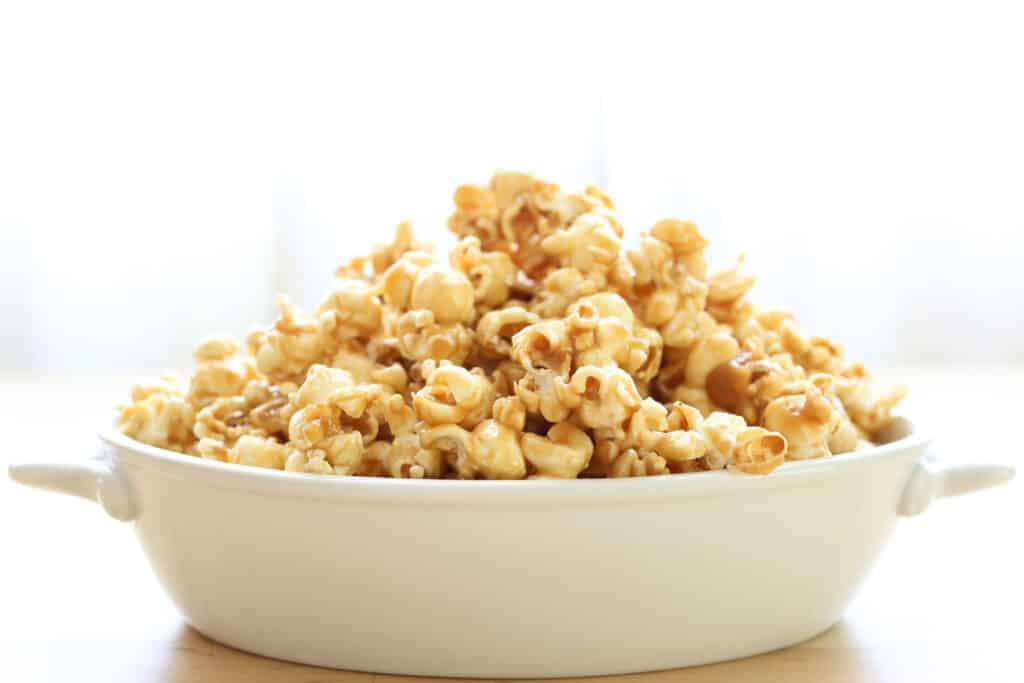Salted Caramel Popcorn {EASY recipe made without corn syrup!} by Barefeet In The Kitchen