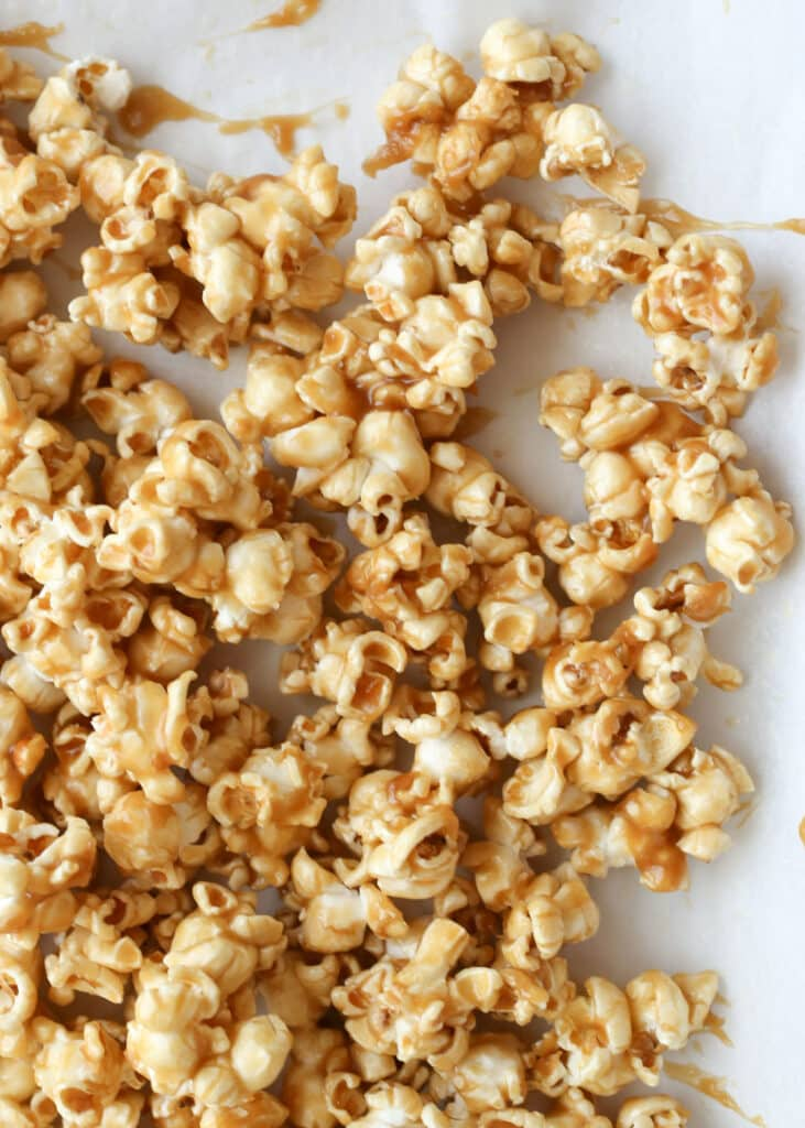 The BEST Salted Caramel Popcorn {EASY recipe made without corn syrup!} by Barefeet In The Kitchen