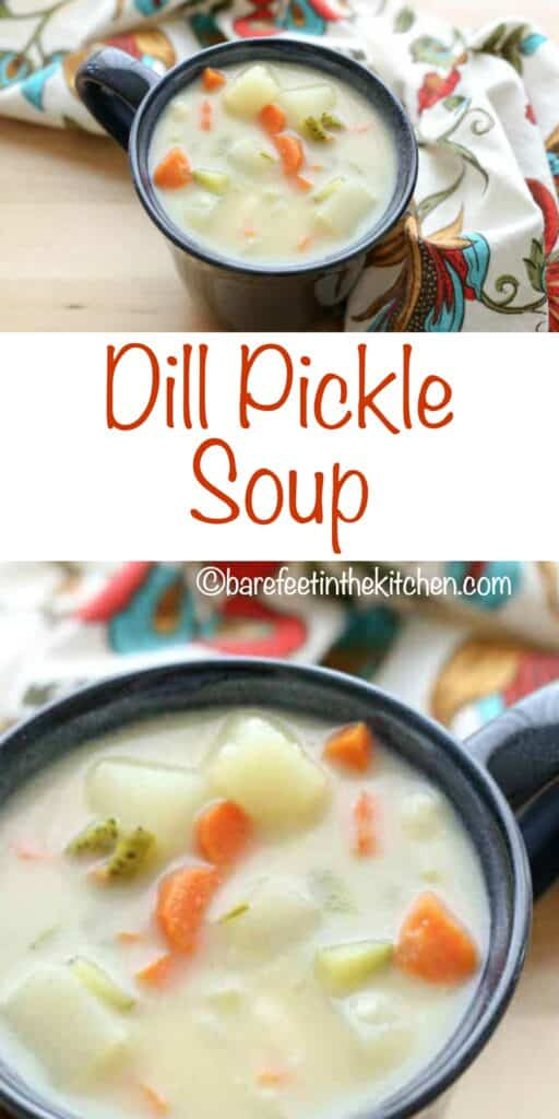 Dill Pickle Soup in a mug - a hearty meal that the whole family loves! get the recipe at barefeetinthekitchen.com