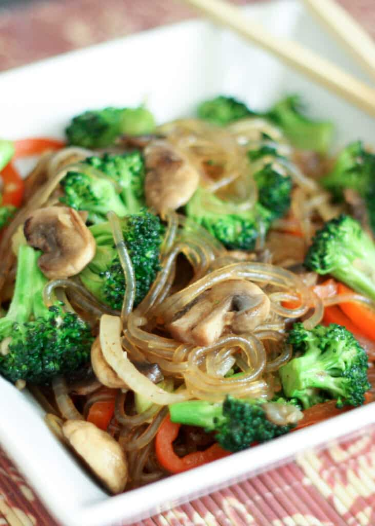 Korean Jap Chae {or Chop Chae} with Broccoli and Mushrooms recipe by Barefeet In The Kitchen