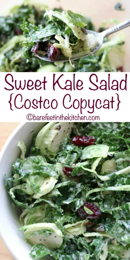 Sweet Kale Salad (Costco copycat recipe) - get the recipe at barefeetinthekitchen.com