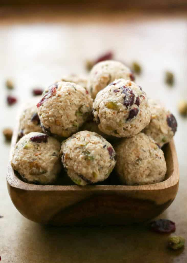 Cranberry Pistachio Cookie Dough Bites are perfect for snacking or for ...