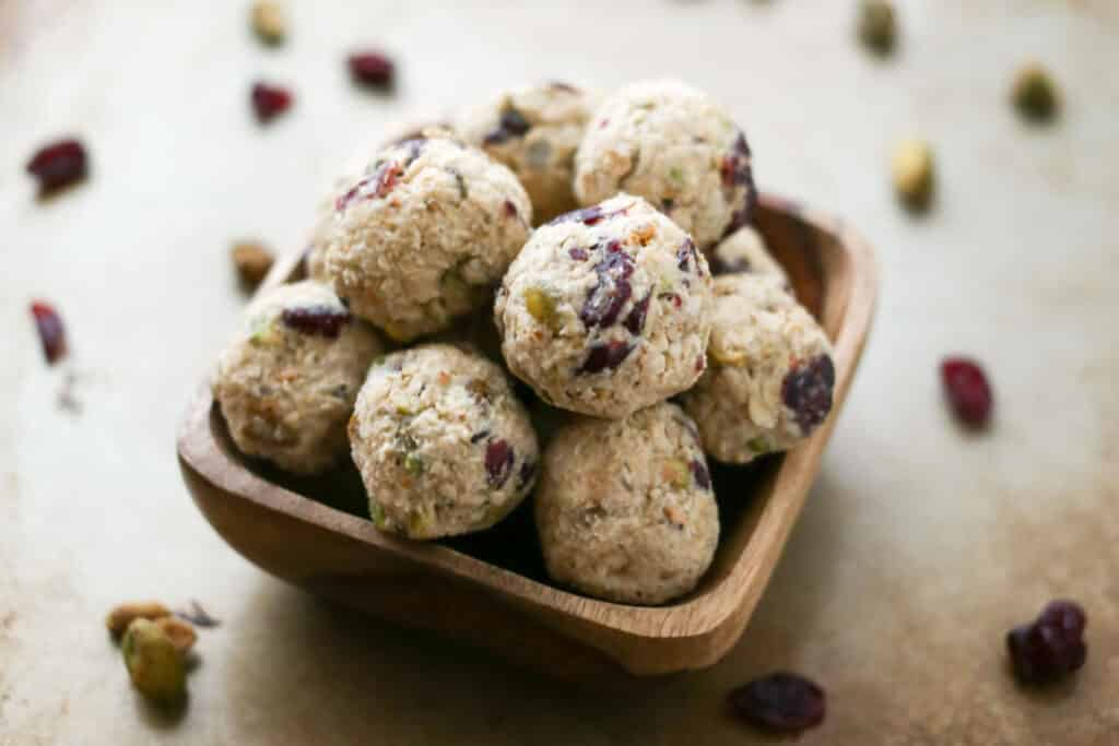 Cranberry Pistachio Cookie Dough Bites - recipe by Barefeet In The Kitchen