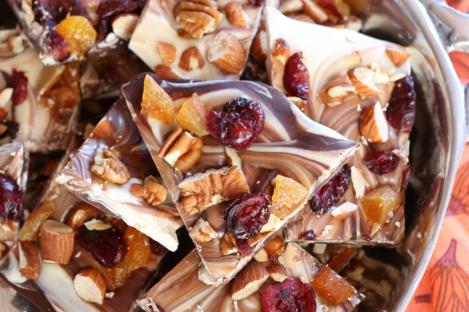 Fruit and Nut Chocolate Bark | barefeetinthekitchen.com