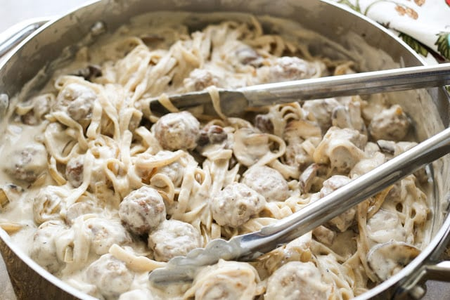 Meatball Stroganoff Fettuccine - recipe by Barefeet In The Kitchen