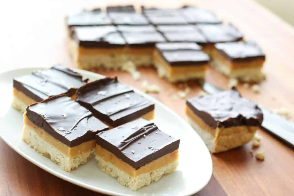 Millionaire Bars {traditional and gluten free recipes} like a Twix bar, only better!