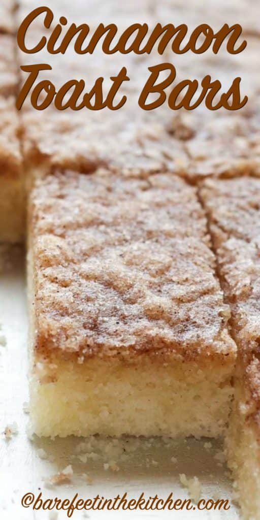 Cinnamon Toast Bars - get the recipe at barefeetinthekitchen.com