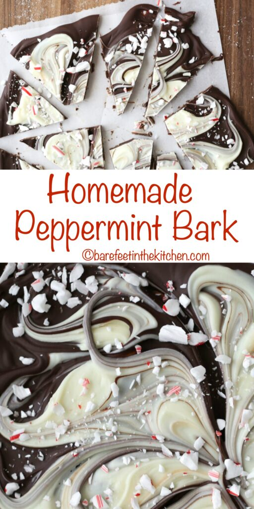 Homemade Peppermint Bark - get the recipe at barefeetinthekitchen.com