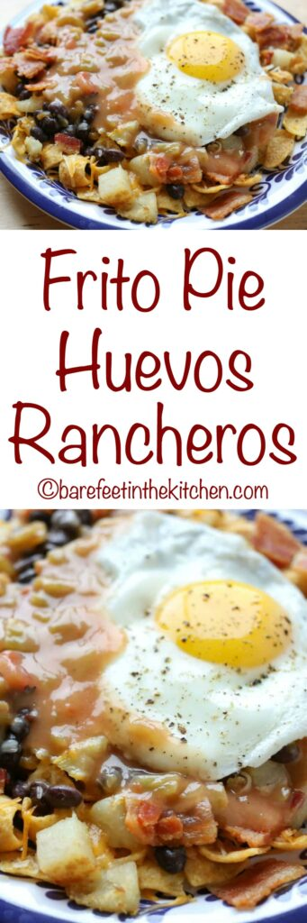 Frito Pie Huevos Rancheros is an unforgettable breakfast! - get the recipe at barefeetinthekitchen.com