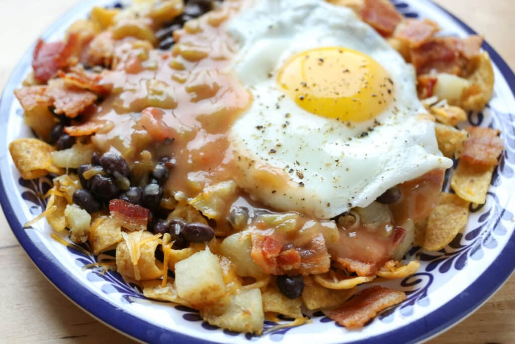 Frito Pie Huevos Rancheros - recipe by Barefeet In The Kitchen