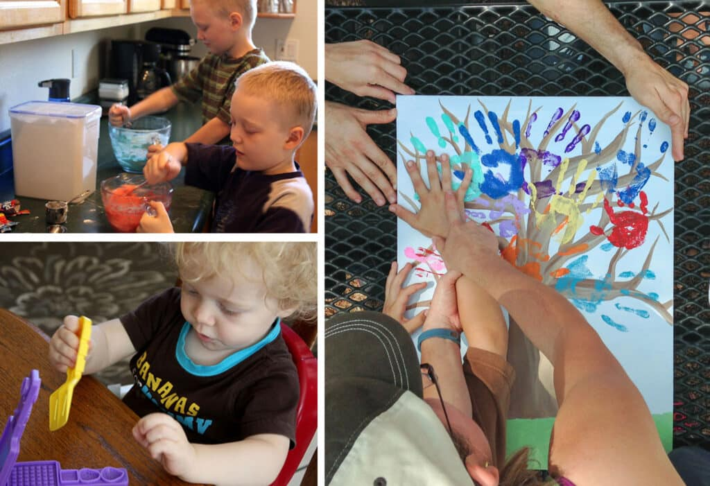Homemade playdough and handprint trees are great kid friendly activities!