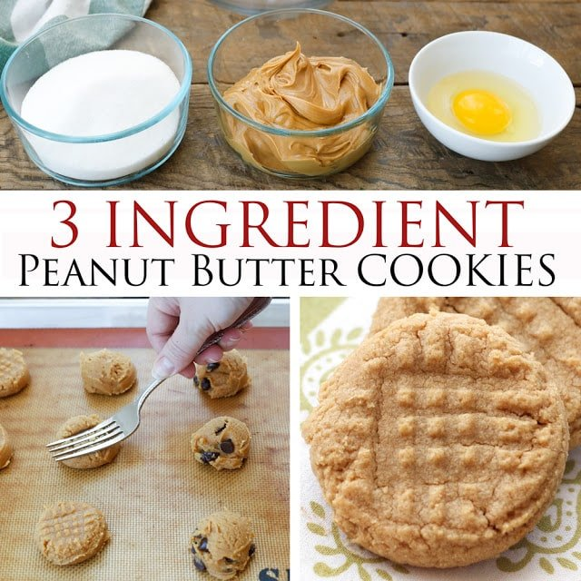3 Ingredient Peanut Butter Cookies Barefeetinthekitchen Com