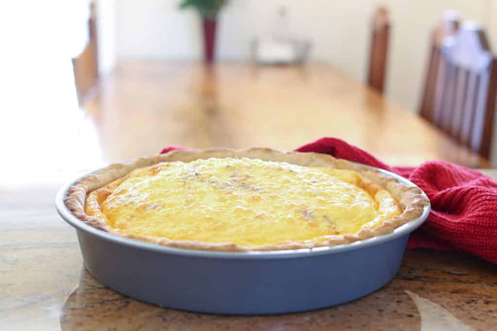 Cheesy Bacon Quiche - recipe by Barefeet In The Kitchen (make-ahead and freezer instructions included)