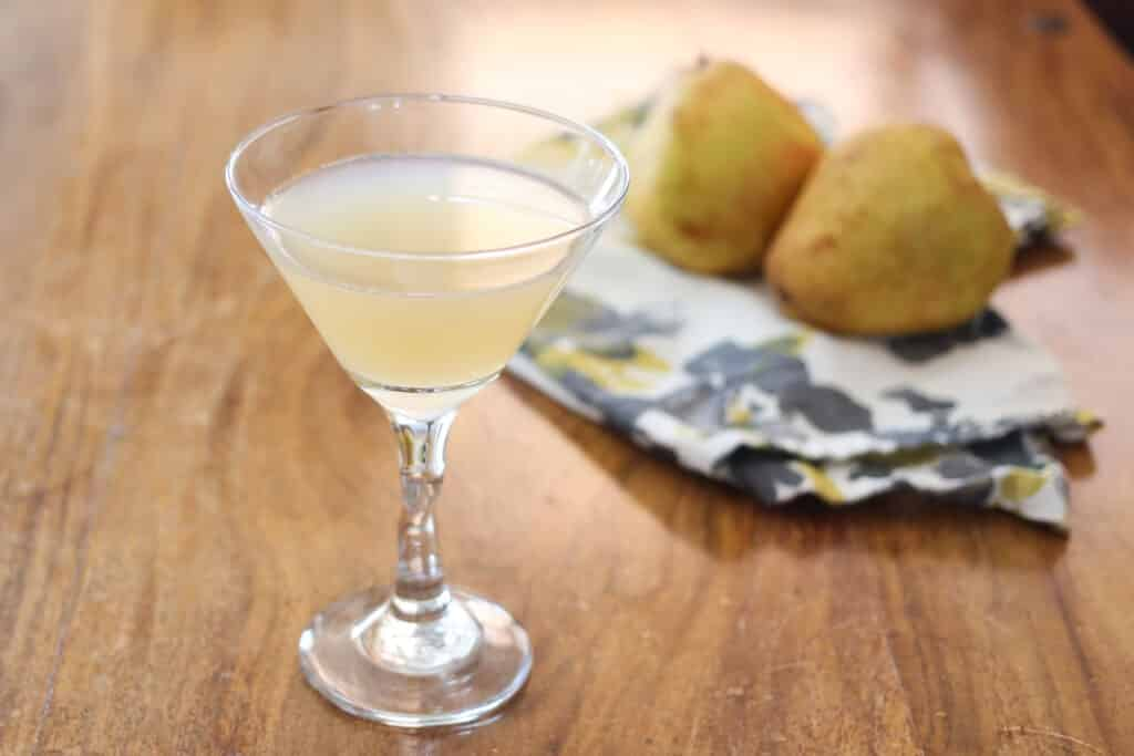 Pear Martini recipe made with fresh pears, citrus, and St-Germain