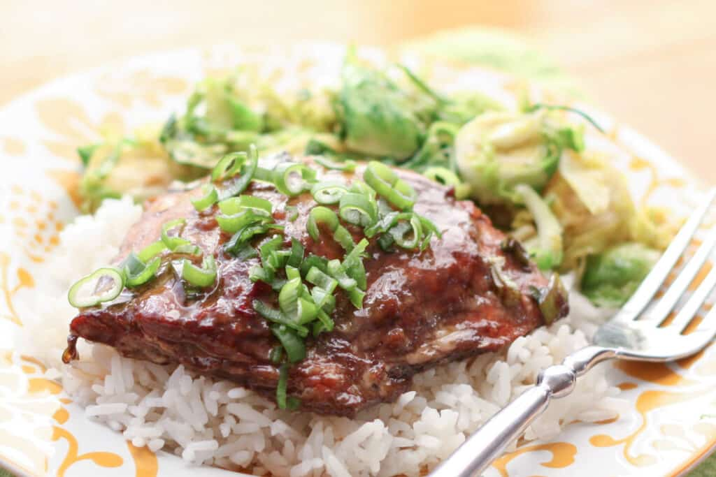 Balsamic Ginger Salmon - get the recipe at Barefeet In The Kitchen