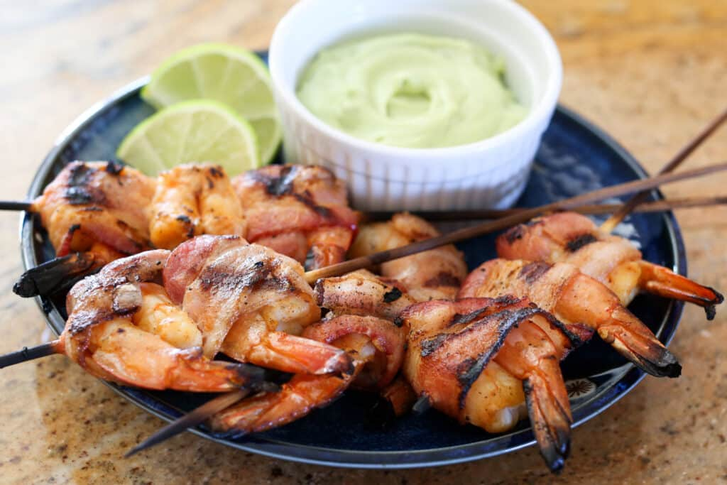 Bacon Wrapped Chipotle Shrimp Kabobs - recipe by Barefeet In The Kitchen