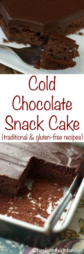 Cold Chocolate Snack Cake is a rich dark chocolate cake topped by a chocolate ganache frosting. Designed to be served cold from the refrigerator, this is a wonderfully unique cake! Get the recipe at barefeetinthekitchen.com