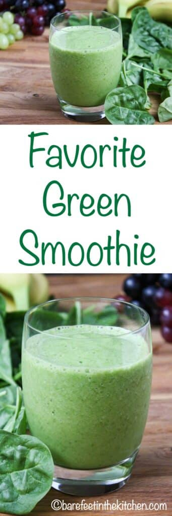 Our favorite green smoothie doesn't taste GREEN at all! get the recipe at barefeetinthekitchen.com