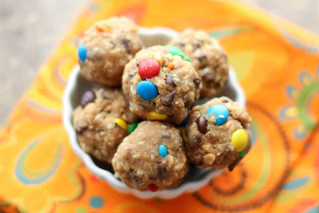 Monster Cookie Dough Bites {naturally gluten free} recipe by Barefeet In The Kitchen